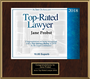 Jane Probst Top Rated Lawyer Plaque